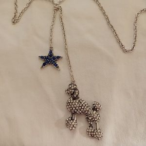 NEW Poodle & Star Silver Pave Crystal Necklace